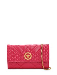 Versace Icon Quilted Patent Leather Shoulder Bag Fierce Fuchsia