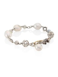 John Hardy Legends Naga 10Mm White Baroque Pearl And White Moonstone Station Bracelet Silver White