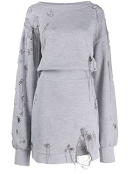 Faith Connexion Distressed Sweatshirt Dress Grey