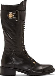 Versus Black Leather Lace Up Combat Boots