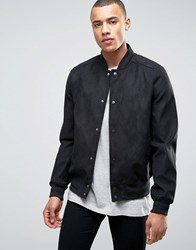 New Look Faux Suede Bomber In Black Black