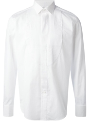 Lanvin Pleated Bib Dress Shirt White