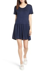 Bobeau Knit Tee Dress Navy