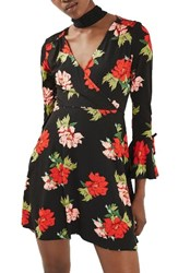 Topshop Women's Floral Flute Sleeve Skater Dress