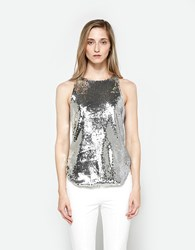 Sandy Liang Chandi Sequin Tank Silver