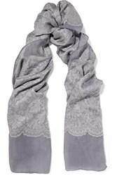 Valentino Lace Appliqued Cashmere And Silk Blend Scarf Gray