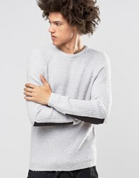 Asos Jumper In Boucle With Woven Forearm Patches Grey