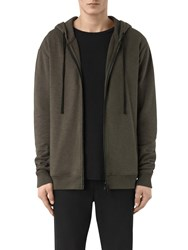 Allsaints Aryan Full Zip Hoodie Black Khaki Brown