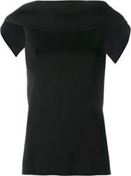Osman Draped Sleeveless Top Black