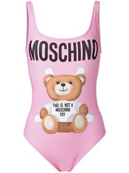 Moschino Teddy Front Swimsuit Pink Purple