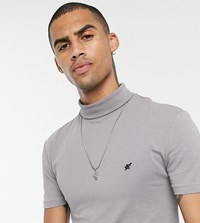 Heart And Dagger Short Sleeve T Shirt With Roll Neck Grey