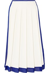 Victoria Beckham Georgette Trimmed Pleated Crepe Midi Skirt White Blue