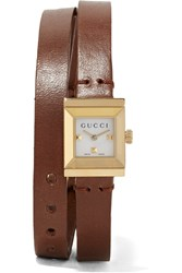 Gucci Leather And Gold Plated Watch Brown