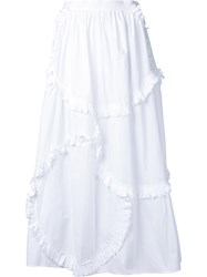 Tsumori Chisato Patchwork Frill Skirt Women Cotton S White