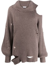 Faith Connexion Distressed Roll Neck Sweater Brown