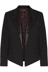 Kate Moss For Equipment Wynne Satin Trimmed Wool Twill Blazer Black