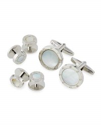 Ike Behar Round Mother Of Pearl Cuff Links And Shirt Studs Set Silver Mop