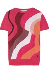 Emilio Pucci Metallic Jacquard Knit Wool Blend Sweater Fuchsia