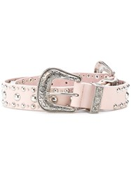 B Low The Belt Studded Western Women Leather L Pink Purple