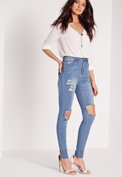 Missguided High Waisted Busted Knee Skinny Jeans Dusty Vintage Blue