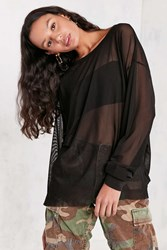 Truly Madly Deeply High Low Oversized Mesh Tee Black