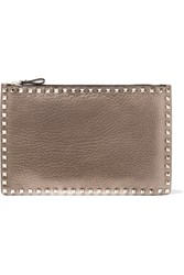 Valentino Studded Metallic Textured Leather Pouch Gold