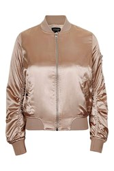 Topshop Tall Shiny Ma1 Bomber Jacket Pale Pink