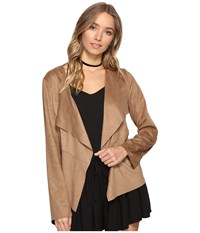 Bb Dakota Joline Drape Front Perforated Faux Suede Jacket Sienna Women's Coat Brown