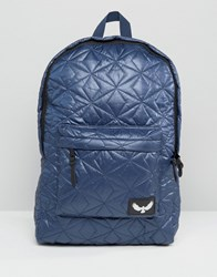 Brave Soul Quilted Backpack With Front Pocket Blue