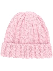 Ami Alexandre Mattiussi Cable Knit Beanie Pink