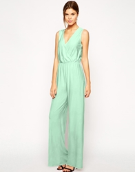 Asos Sleeveless Jumpsuit With Wide Leg Mint