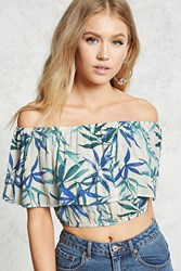 Forever 21 Contemporary Tropical Crop Top Ivory Green