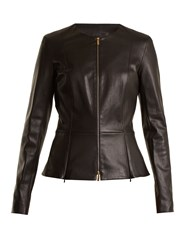 The Row Anaste Collarless Leather Jacket Black