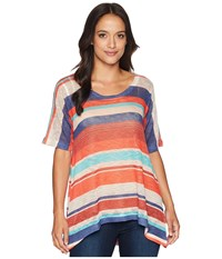 Nally And Millie Short Sleeve Red Navy Stripe Tunic Multi Blouse