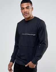 Diesel S Achille Washed Out Sweater Zip Pocket Bk1 Black 1