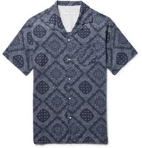 Officine Generale Dario Camp Collar Printed Cotton Shirt Navy