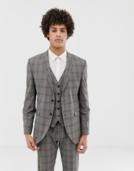 Selected Homme Slim Suit Jacket In Grey Sand Check