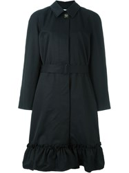 J.W.Anderson J.W. Anderson Button Up Belted Ruffle Hem Trench Coat Black