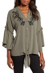 Wit And Wisdom Embellished Tie Front Blouse Ash Green