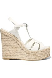 Saint Laurent Tribute Leather Espadrille Wedge Sandals White