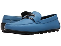 Z Zegna Rubberized Calf Logo Driver Pop Blue Men's Shoes