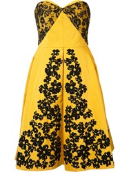 Oscar De La Renta Lace Embroidered Strapless Dress Yellow Orange