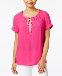 G.H. Bass And Co. Drawstring Neck Top Passion Pink