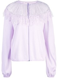 Giambattista Valli Floral Lace Detail Knitted Top Purple