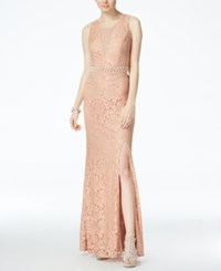 City Triangles Juniors' Embellished Lace Illusion Gown Champagne