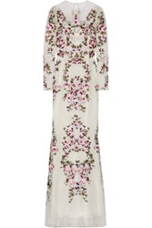 Zuhair Murad Embroidered Silk Blend Lace Gown White