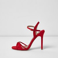 River Island Red Open Toe Strap Barely There Sandals