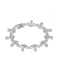 Cz By Kenneth Jay Lane Bow Drop Tennis Bracelet Silver