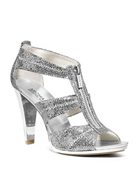 Michael Michael Kors Berkley Metallic T Strap High Heel Sandals