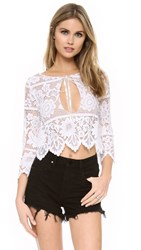 For Love And Lemons Gianna Crop Top White